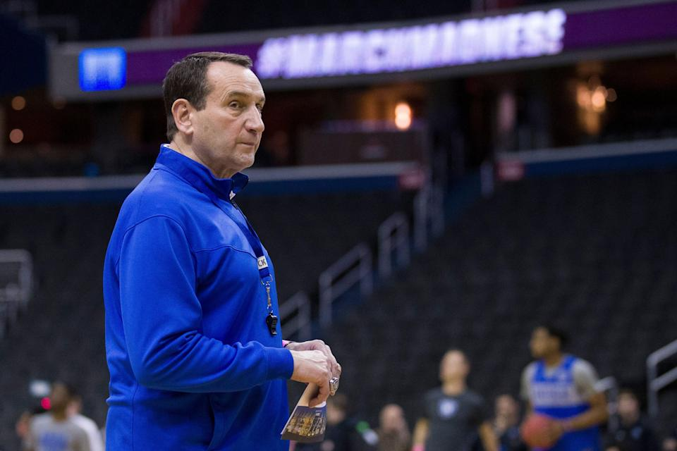Duke head coach Mike Krzyzewski watches his team during an NCAA men's college basketball practice in Washington, Thursday, March 28, 2019. Duke plays Virginia Tech in an East Regional semifinal game on Friday. (AP Photo/Alex Brandon)
