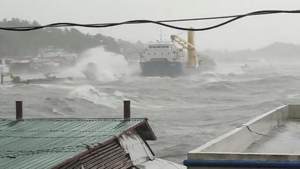 <p>Waves crash the shore as Super Typhoon Surigae moves close to the Philippines in the province of Catbalogan, Samar, Philippines April 18, 2021, in this screen grab obtained from a social media video. </p> (DJ RJ RENE CASTINO via REUTERS)