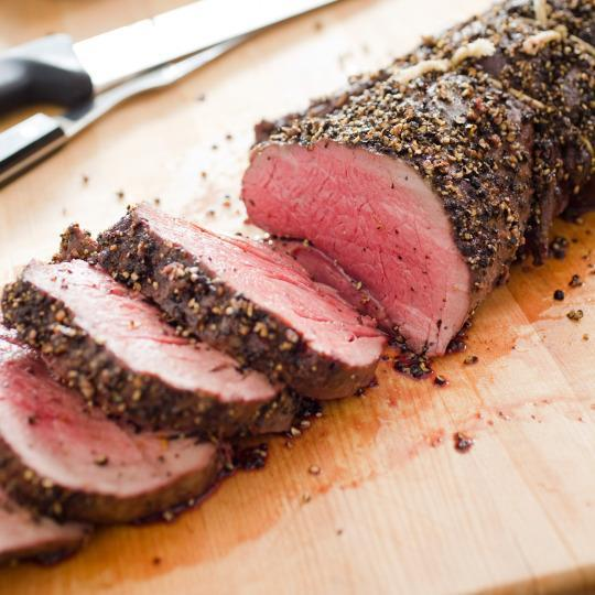 Above pepper crusted beef tenderloin roast