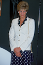 <p>Last but not least is this prim and proper polka dot dress layered underneath a crisp white blazer, worn by Diana for an outing in Cardiff in June 1993. </p>