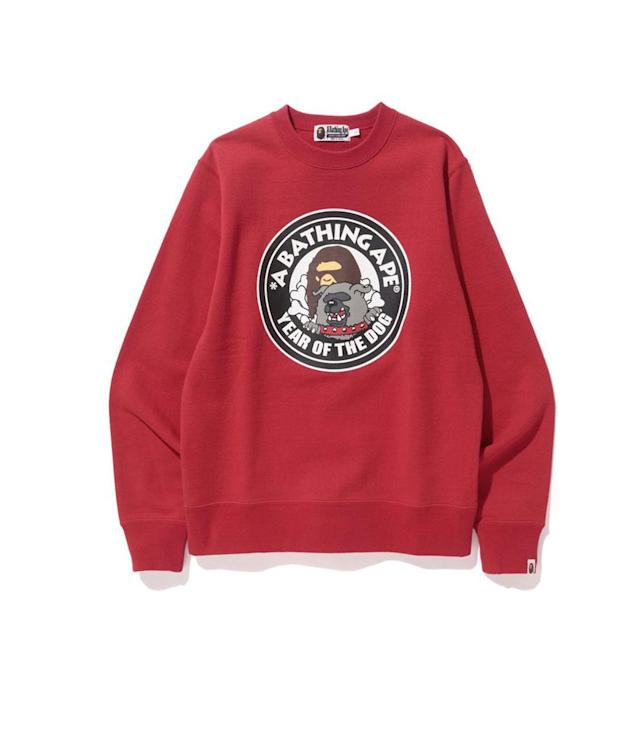 "<p>Year of the Dog Collection, $245, <a href=""https://us.bape.com/blogs/news/bape-year-of-the-dog"" rel=""nofollow noopener"" target=""_blank"" data-ylk=""slk:bape.com"" class=""link rapid-noclick-resp"">bape.com</a> </p>"