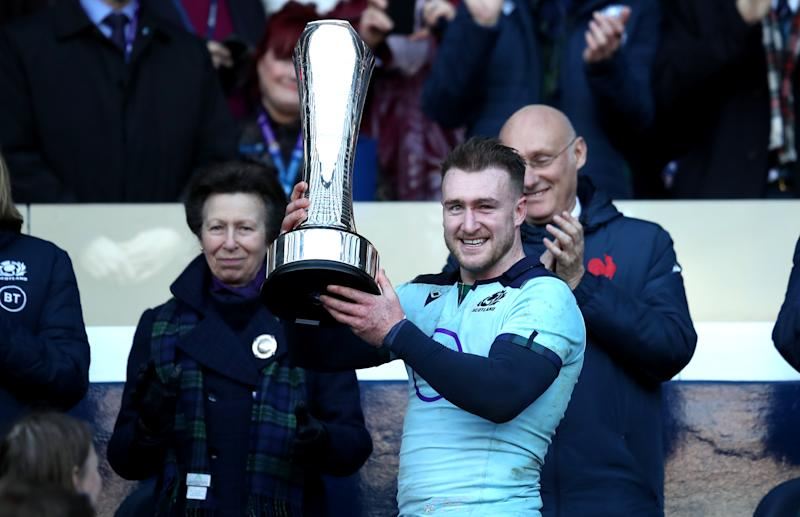 Scotland's Stuart Hogg receives the Auld Alliance Trophy from Princess Anne,. The Princess Royal during the Guinness Six Nations match at BT Murrayfield Stadium, Edinburgh. (Photo by Jane Barlow/PA Images via Getty Images)