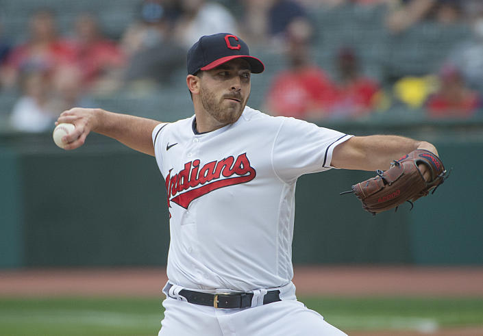 Cleveland Indians starting pitcher Aaron Civale delivers to a Detroit Tigers batter during the first inning of a baseball game in Cleveland, Saturday, April 10, 2021. (AP Photo/Phil Long)