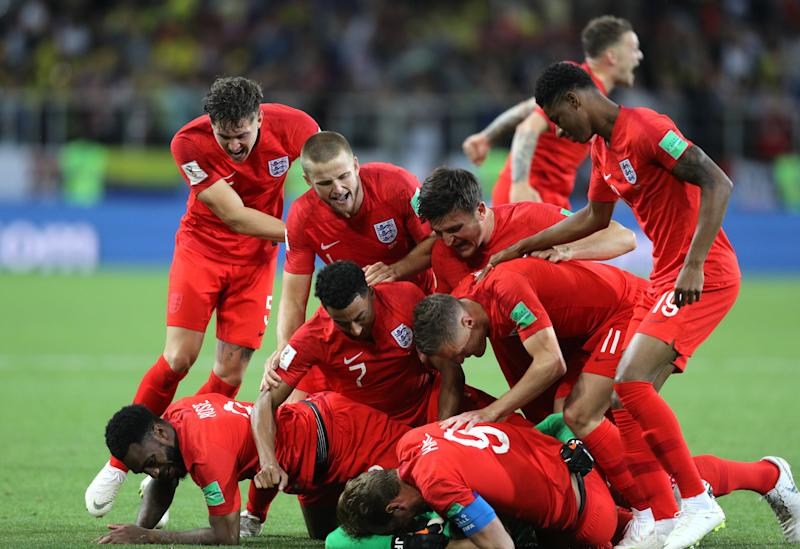 England celebrate reaching the quarter-finals where they will face Sweden tomorrowMore