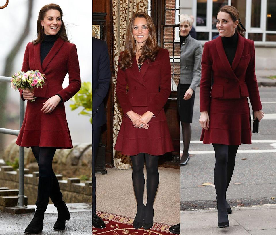 <p>Middleton has worn this wine-hued Paule Ka skirt suit multiple times, most notably in October 2012, February 2017, and recently in November 2018. </p>