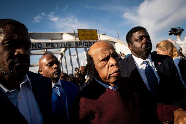 PHOTO: Rep. John Lewis crosses the Edmund Pettus Bridge before the 55th anniversary of the Bloody Sunday crossing, in Selma, Ala., March 1, 2020. (Al Drago/EPA via Shutterstock, FILE)