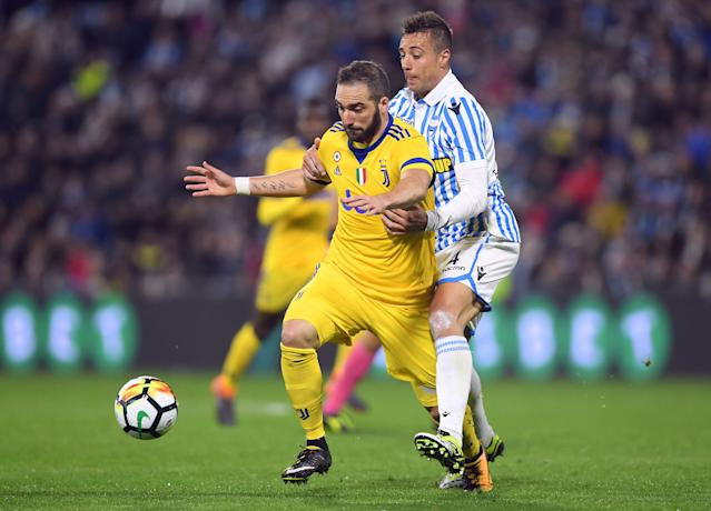 Soccer Football - Serie A - SPAL vs Juventus - Paolo Mazza, Ferrara, Italy - March 17, 2018 Juventus' Gonzalo Higuain in action with Spal's Thiago Cionek REUTERS/Alberto Lingria