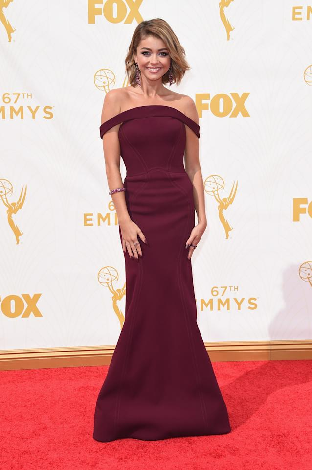 Sarah Hyland in Zac Posen at the 2015 Emmys Awards.