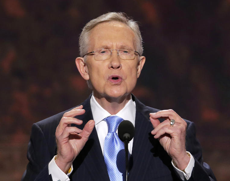 FILE - In this Sept. 4, 2012 file photo, Senate Majority Leader Harry Reid of Nevada addresses the Democratic National Convention in Charlotte, N.C. Troopers say Reid has been taken to the hospital after what appears to be a rear-end crash on an interstate through Las Vegas. (AP Photo/J. Scott Applewhite)