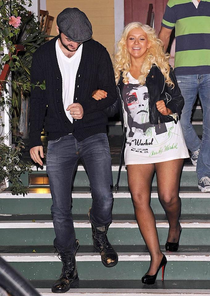 "3. ""Voice"" mentor Christina Aguilera -- sans pants and self respect -- while dining at Off Vine in Hollywood with boyfriend Matt Rutler. (10/17/2011)"