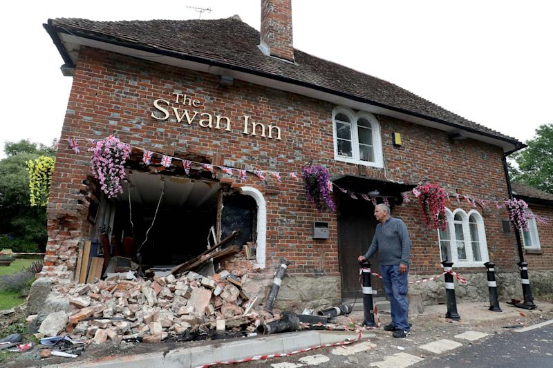 The crash happened hours before the pub was due to open (PA)