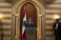 U.S. Undersecretary of State for Political Affairs David Hale makes a press statement after his meeting with former Lebanese Prime Minister Saad Hariri in downtown Beirut, Lebanon, Friday, Dec. 20, 2019. Hale is the most senior foreign diplomat to visit the country since the political crisis. (AP Photo/Maya Alleruzzo)