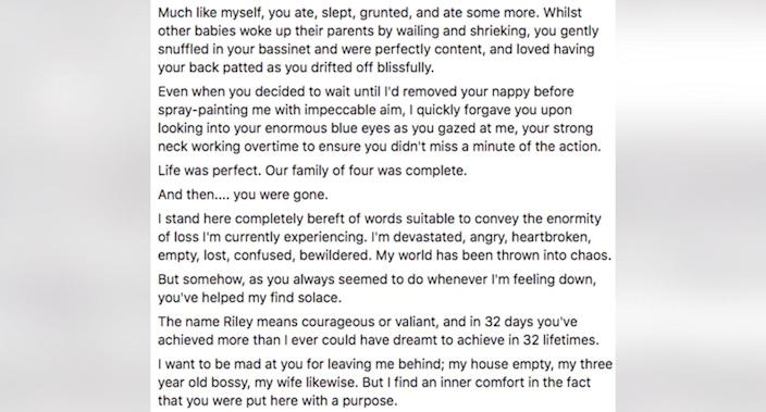 Part of the letter Mr Hughes wrote and read on the day of Riley's funeral. Source: Dad Minus One/ Facebook