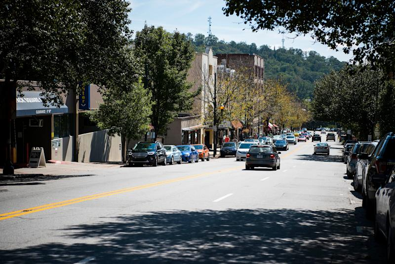 A street scene in Asheville, North Carolina.