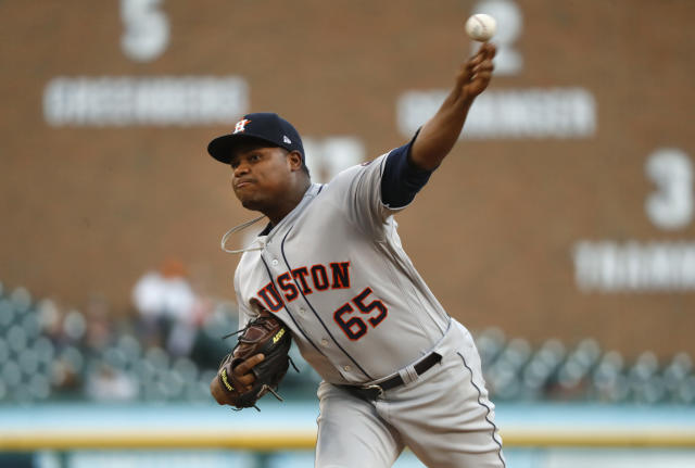 Houston Astros pitcher Framber Valdez throws in the second inning of a baseball game against the Detroit Tigers in Detroit, Tuesday, Sept. 11, 2018. (AP Photo/Paul Sancya)