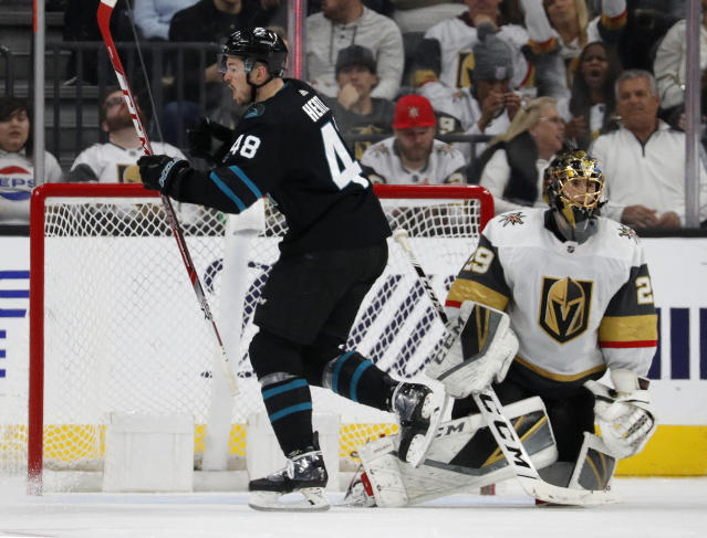 San Jose Sharks center Tomas Hertl (48) celebrates after scoring against Vegas Golden Knights goaltender Marc-Andre Fleury (29) during the second period of an NHL hockey game Thursday, Jan. 10, 2019, in Las Vegas. (AP Photo/John Locher)