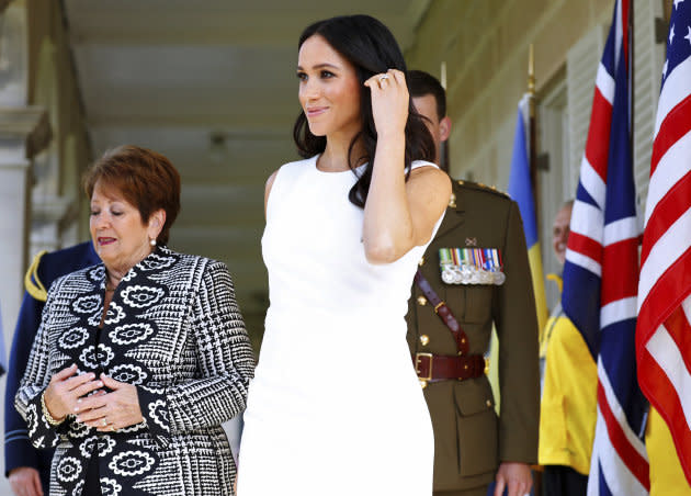 Britain's Duchess of Sussex arrives at Admiralty House in Sydney, Australia, Tuesday, Oct. 16, 2018. Britain's Prince Harry and his wife Meghan are on a 16-day tour of Australia and the South Pacific.(Phil Noble/Pool via AP)