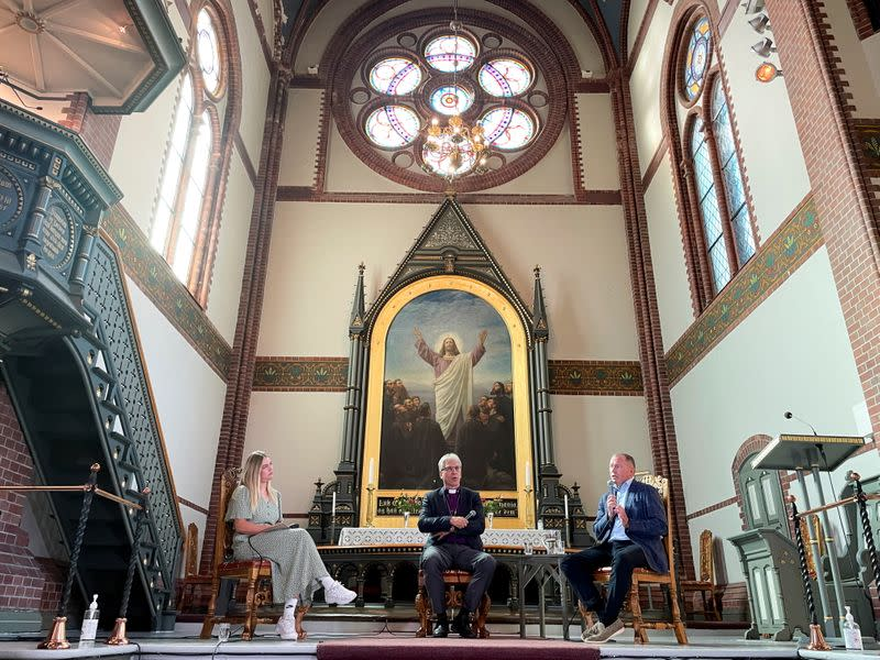 Nicolai Tangen, CEO of Norges Bank Investment Management, speaks at Trinity Church in Arendal