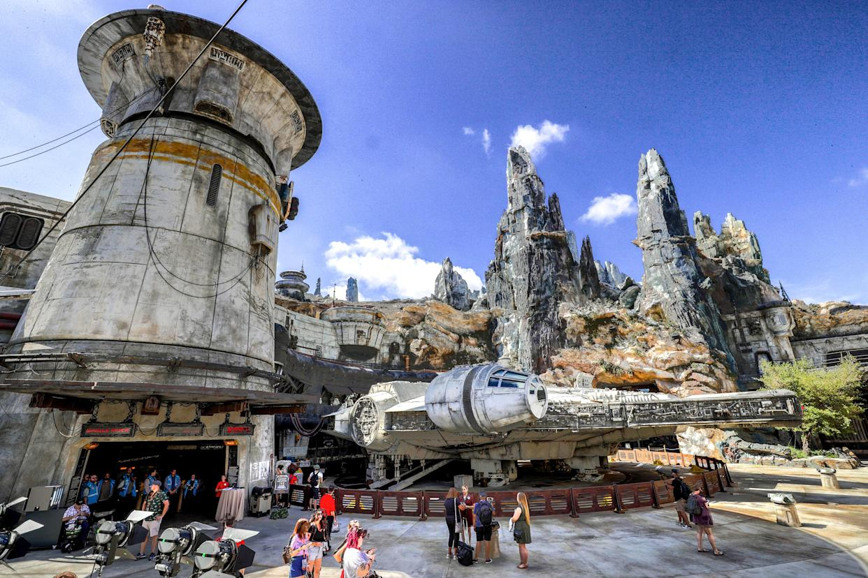 Scenes of the Millennium Falcon at Black Spire Outpost during a sneak peek for invited guests of the Star Wars: Galaxys Edge attraction at Disneys Hollywood Studios in Lake Buena Vista, Fla. (Joe Burbank/Orlando Sentinel/Tribune News Service via Getty Images)