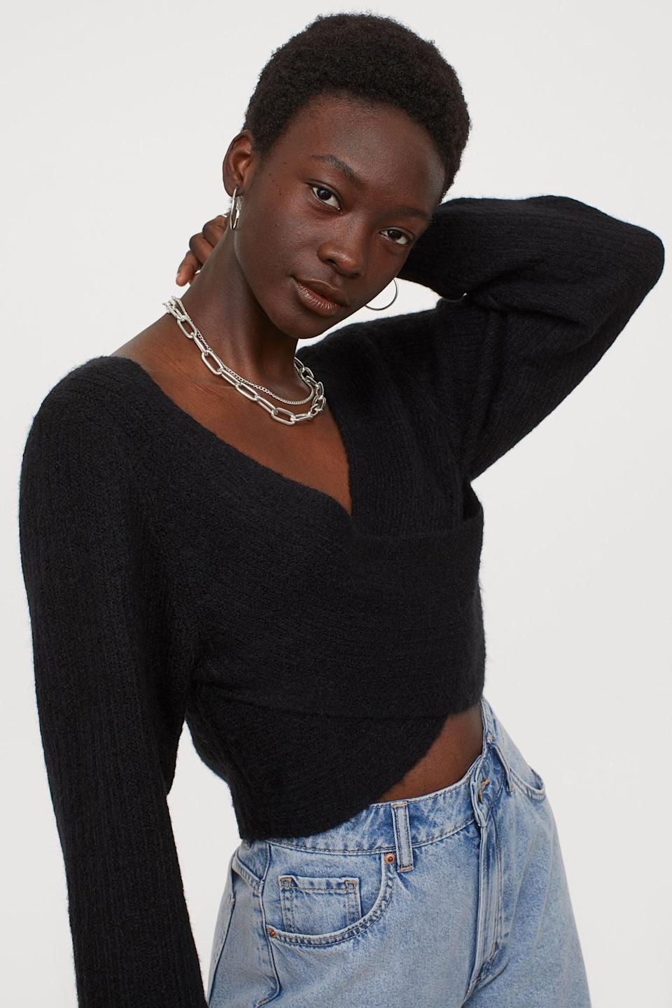 <p>Style this <span>Wrapover Sweater</span> ($25) with your favorite jeans for a chic and casual look or a slip skirt for a dressy outfit.</p>
