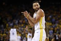 Stephen Curry #30 of the Golden State Warriors reacts against the Toronto Raptors in the first half during Game Three of the 2019 NBA Finals at ORACLE Arena on June 05, 2019 in Oakland, California. (Photo by Ezra Shaw/Getty Images)
