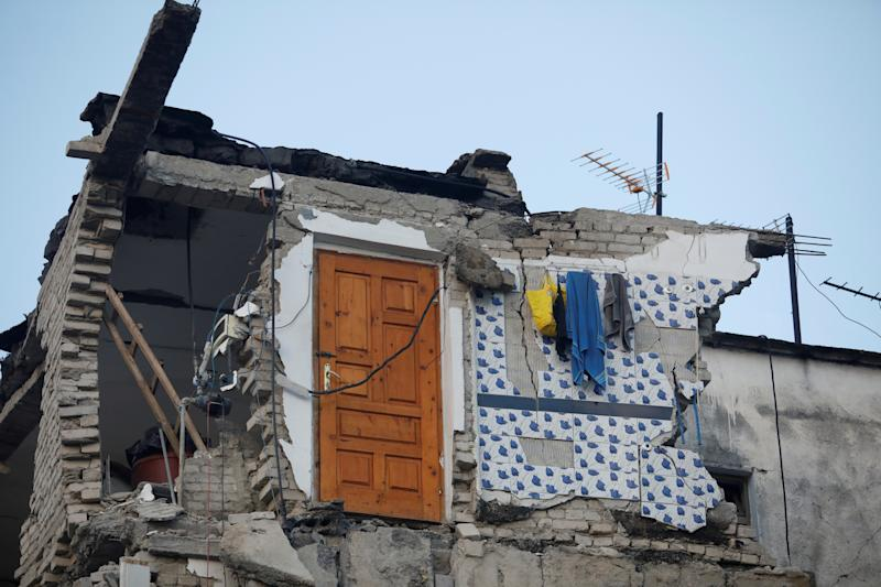 A damaged building is seen in Thumane, after an earthquake shook Albania, November 26, 2019. (Photo: Florion Goga/Reuters)
