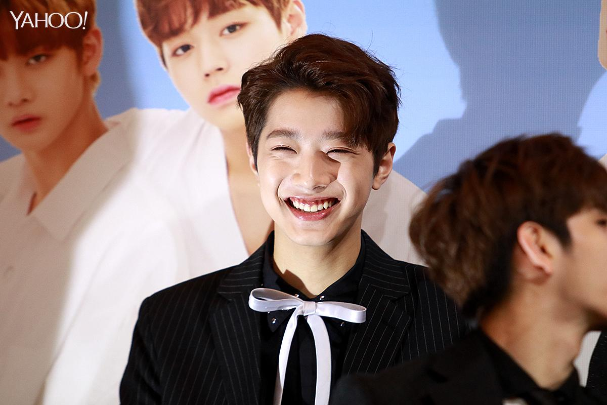 <p>Taiwanese member Lai Guan Lin at Wanna One press conference in Singapore </p>