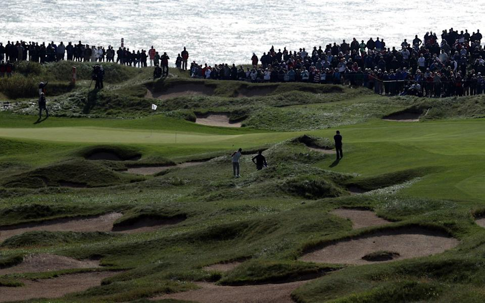 A general view of the first hole during practice rounds prior to the 43rd Ryder Cup at Whistling Straits on September 23, 2021 in Kohler, Wisconsin - Warren Little/Getty Images