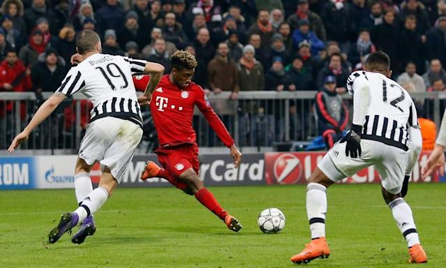 "<span class=""element-image__caption"">Kingsley Coman (centre) has been on loan at Bayern Munich from Juventus for two seasons – and Pep Guardiola is ready to pounce.</span> <span class=""element-image__credit"">Photograph: Boris Streubel/Getty Images</span>"