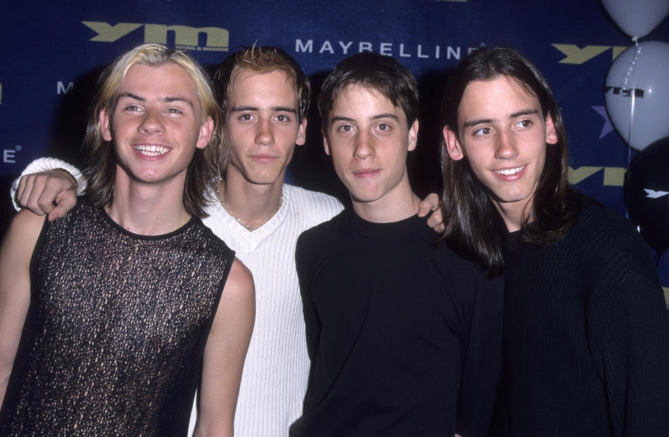 FILE PHOTO: Pop group The Moffatts (Scott Moffatt, Clint Moffatt, Dave Moffatt and Robert Moffatt) attend Maybelline Presents YM's Rising Star Concert on September 24, 1999 at the Shrine Auditorium in Los Angeles, California. (Source: Galella, Ltd./Ron Galella Collection/Getty Images)