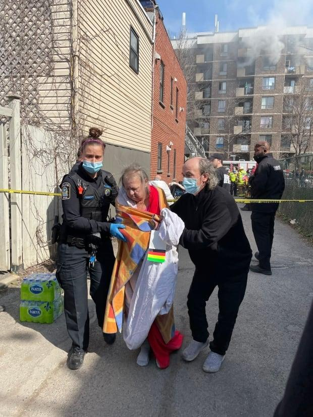 The fire started in an apartment complex in Côte-Saint-Paul that mainly houses elderly residents.  (Josh Grant/CBC - image credit)