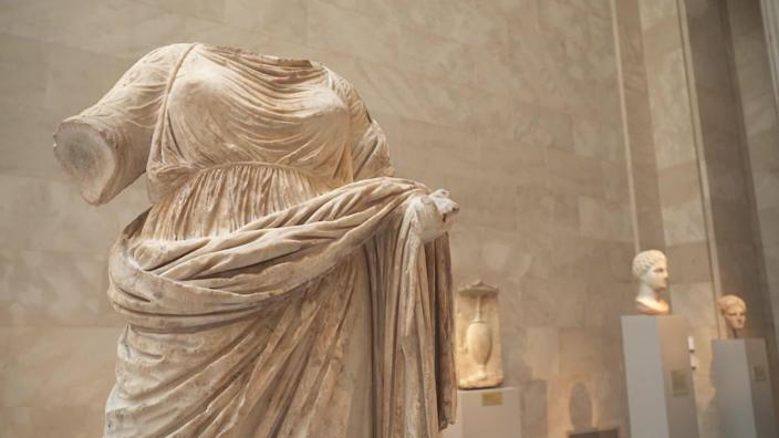 A marble statue of a woman from Greece, dating from the 4th century B.C., at New York's Metropolitan Museum of Art. / Credit: CBS News