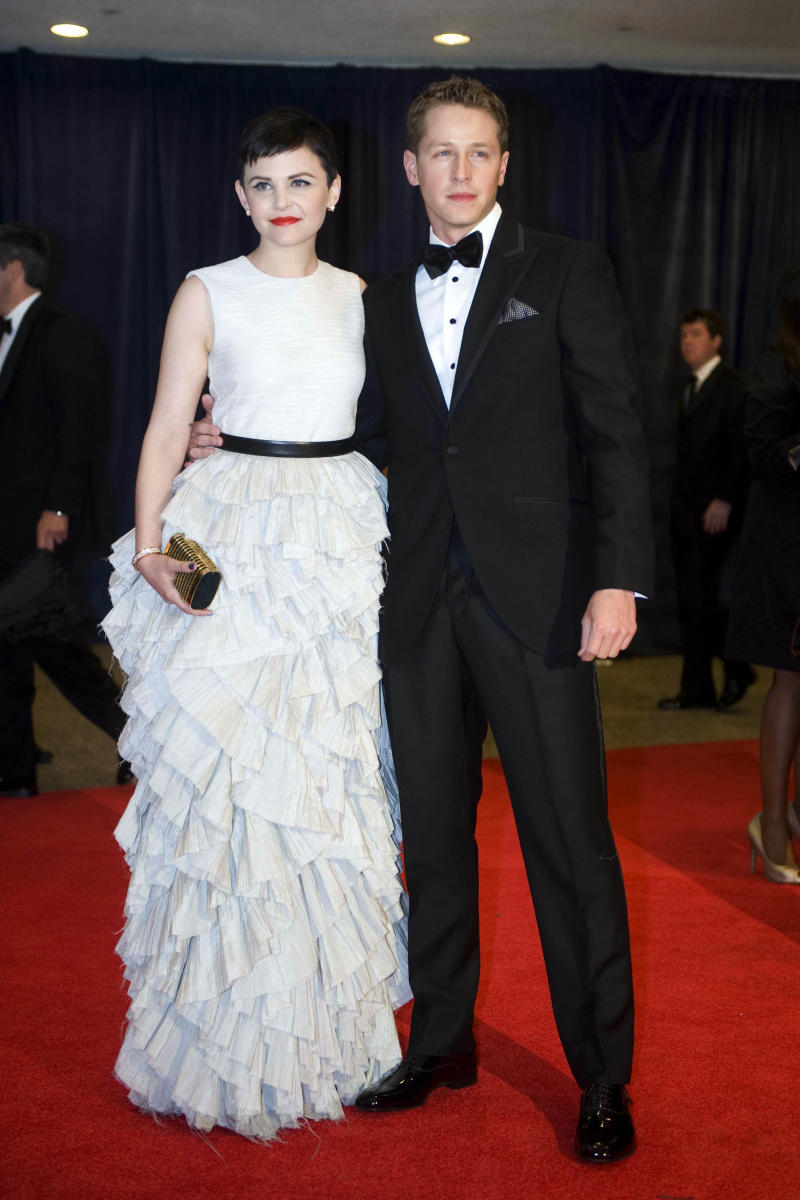 FILE - In this April 28, 2012 file photo, actress Ginnifer Goodwin and Josh Dallas arrive at the White House Correspondents' Association Dinner in Washington.  (AP Photo/Kevin Wolf, file)