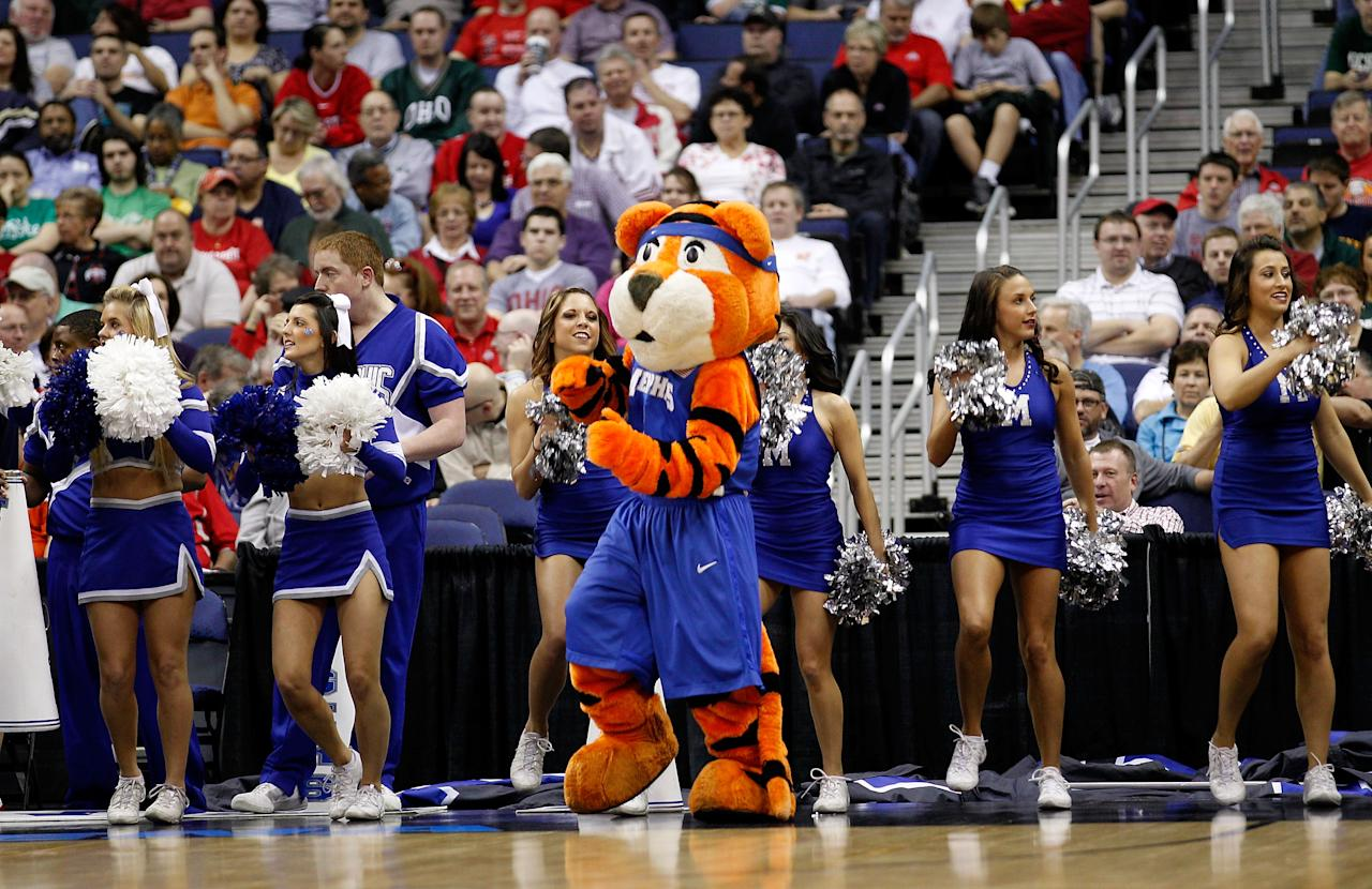 COLUMBUS, OH - MARCH 16: The Memphis Tigers mascot runs on the court early in the game against the Saint Louis Billikens during the second round of the 2012 NCAA Men's Basketball Tournament at Nationwide Arena on March 16, 2012 in Columbus, Ohio.  (Photo by Rob Carr/Getty Images)