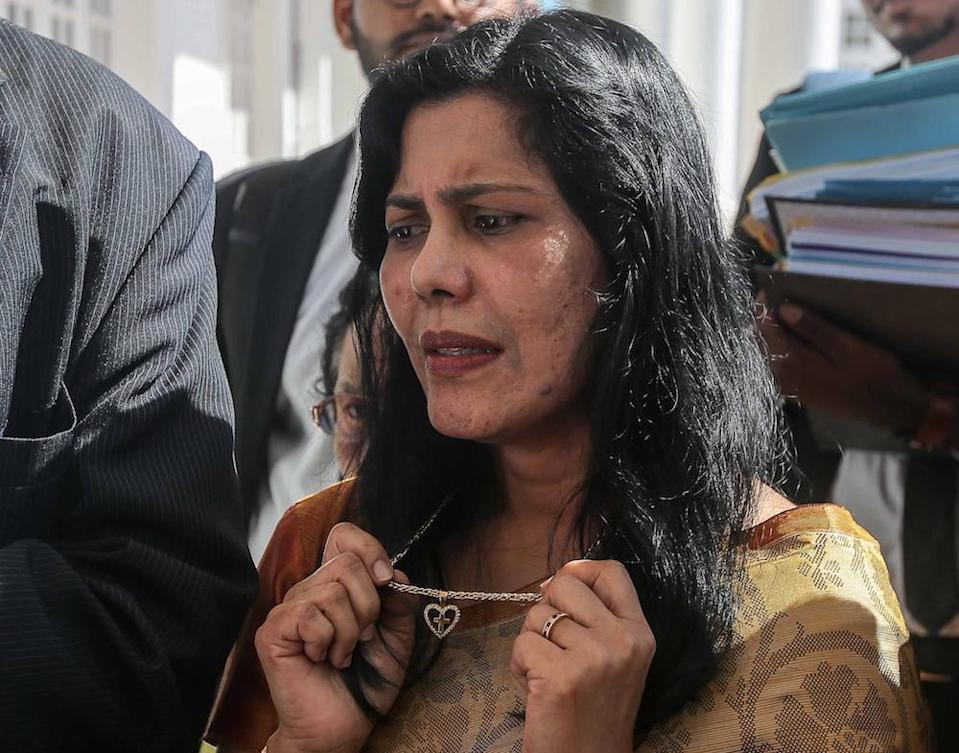 E. Meeriam Rosaline, who claims to be Tun S. Samy Vellu's common-law wife, is seen at the High Court in Ipoh December 12, 2019. — Picture by Farhan Najib