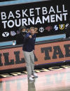 Gonzaga coach Mark Few calls out to the team during the second half against BYU in an NCAA college basketball game for the West Coast Conference men's tournament championship Tuesday, March 9, 2021, in Las Vegas. (AP Photo/David Becker)
