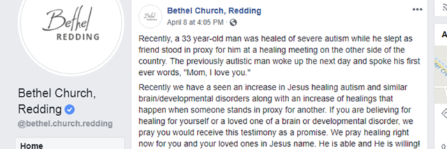 Bethel Church's post about autism.