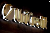 FILE PHOTO: The UniCredit bank logo in the old city centre of Siena, Italy