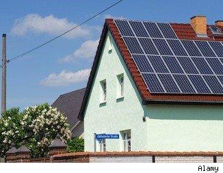 green home: solar paneled roof