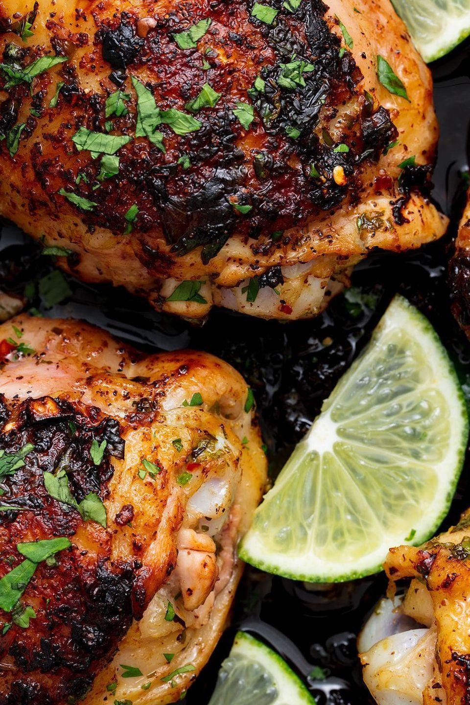 """<p>Coriander and lime is a classic duo that we can't get enough of.</p><p>Get the <a href=""""http://www.delish.com/uk/cooking/recipes/a30243568/cilantro-lime-chicken-recipe/"""" rel=""""nofollow noopener"""" target=""""_blank"""" data-ylk=""""slk:Coriander Lime Chicken"""" class=""""link rapid-noclick-resp"""">Coriander Lime Chicken</a> recipe.</p>"""