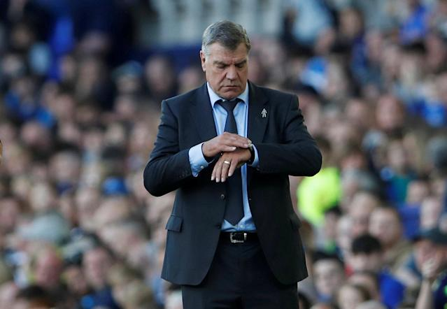 "FILE PHOTO: Soccer Football - Premier League - Everton vs Southampton - Goodison Park, Liverpool, Britain - May 5, 2018 Everton manager Sam Allardyce Action Images via Reuters/Lee Smith/File Photo EDITORIAL USE ONLY. No use with unauthorized audio, video, data, fixture lists, club/league logos or ""live"" services. Online in-match use limited to 75 images, no video emulation. No use in betting, games or single club/league/player publications. Please contact your account representative for further details."