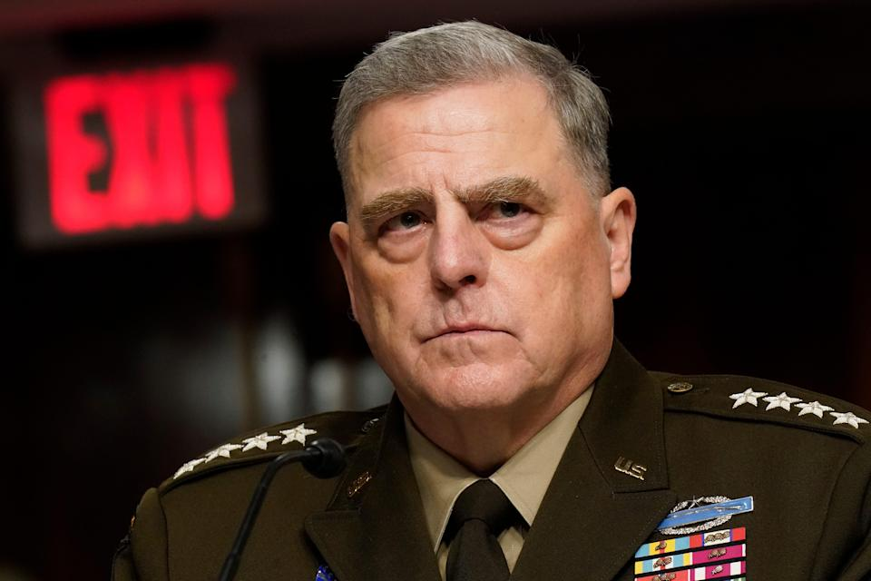 Chairman of the Joint Chiefs of Staff Mark Milley testifies on Capitol Hill on Sept. 28, 2021.