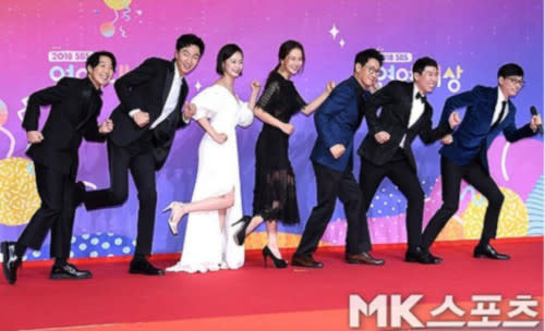 Yoo with the cast members of the hit variety-reality series, 'Running Man'
