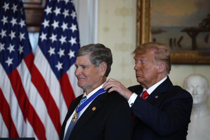 "While accepting the award, Jim Ryun took issue with athletes that he feels ""dishonor"" the flag by kneeling during the national anthem in protest. (AP/Alex Brandon)"