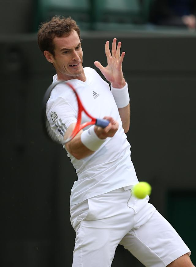 LONDON, ENGLAND - JUNE 26: Andy Murray of Great Britain plays a forehand during his Gentlemen's Singles second round match against Lu Yen-Hsun of Taipei on day three of the Wimbledon Lawn Tennis Championships at the All England Lawn Tennis and Croquet Club on June 26, 2013 in London, England. (Photo by Clive Brunskill/Getty Images)