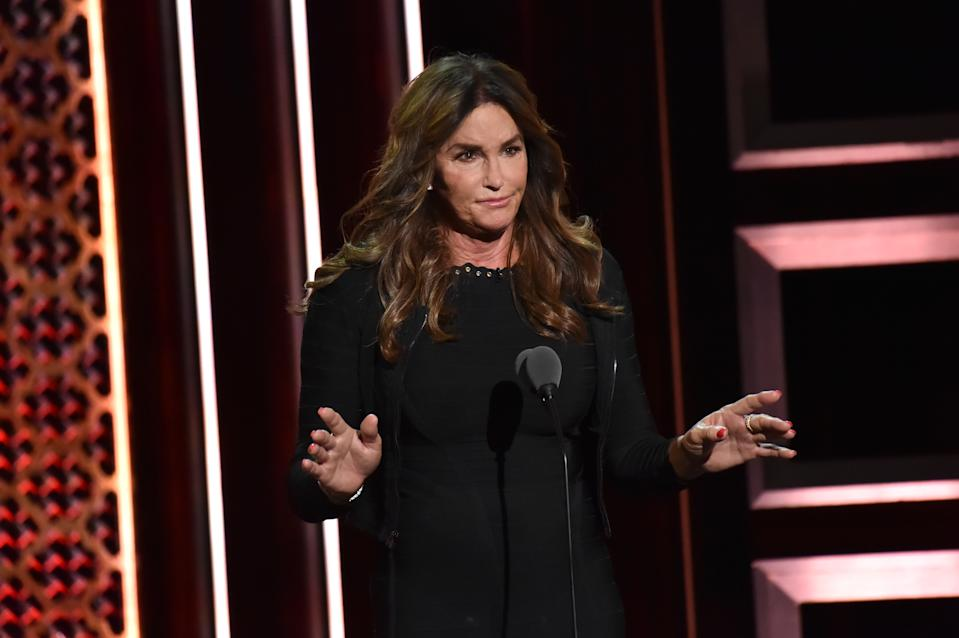 BEVERLY HILLS, CALIFORNIA - SEPTEMBER 07: Caitlyn Jenner speaks onstage during the Comedy Central Roast of Alec Baldwin at Saban Theatre on September 07, 2019 in Beverly Hills, California. (Photo by Jeff Kravitz/FilmMagic)
