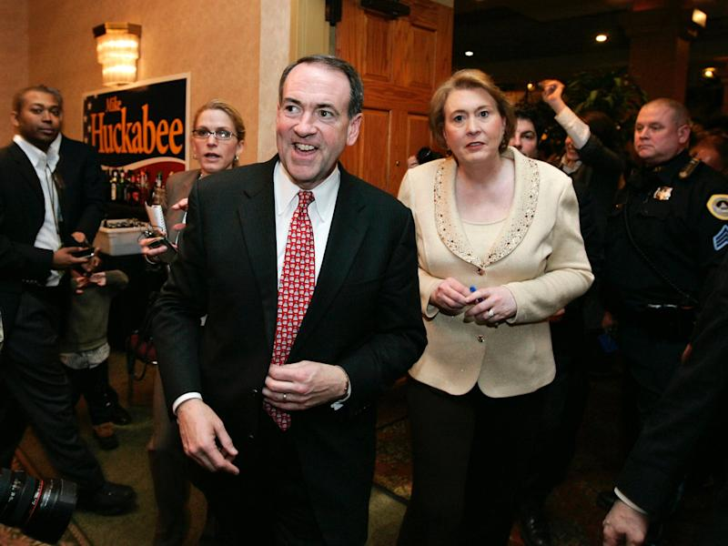 Republican presidential hopeful former Arkansas Gov. Mike Huckabee, left, is joined by his wife Janet at a victory party in Des Moines, Iowa, Thursday, Jan. 3, 2008, after being declared the winner of the Iowa Republican caucus.
