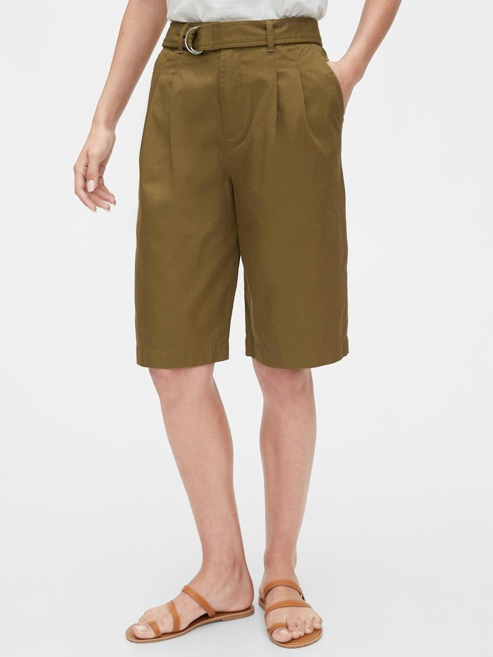 <p>If you want a bit more length, go for these <span>Gap High Rise Belted Bermuda Shorts</span> ($24, originally $50).</p>