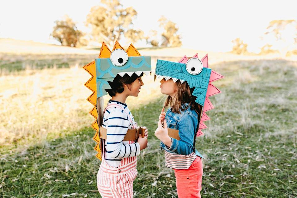 "<p>This version of a dinosaur box costume leaves lots of open space for faces and room for arms to maneuver. (There's also <a href=""https://minimadthings.com/blogs/news/dinosaur-costume"" rel=""nofollow noopener"" target=""_blank"" data-ylk=""slk:this option"" class=""link rapid-noclick-resp"">this option</a> for toddlers who want to go all-in.)</p><p><em><a href=""https://minimadthings.com/collections/e-books/products/unboxed-adventures-in-cardboard-book"" rel=""nofollow noopener"" target=""_blank"" data-ylk=""slk:Get the tutorial at Mini Mad Things »"" class=""link rapid-noclick-resp"">Get the tutorial at Mini Mad Things »</a> </em></p>"