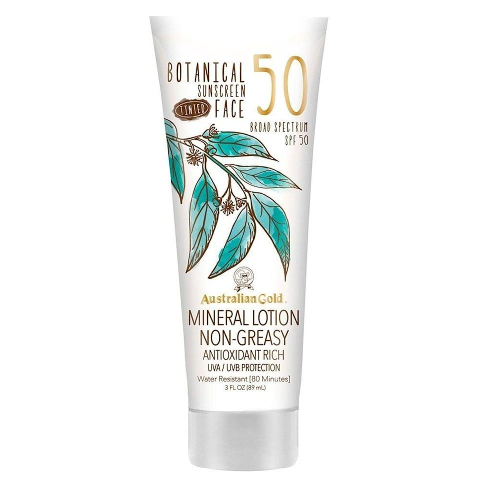 <p>The <span>Australian Gold Botanical Sunscreen Tinted Face Mineral Lotion SPF 50</span> ($14) has a sheer tint to it, making the formula nice for minimal or no-makeup days.</p>